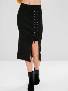 Lace Up Slit Knitted Midi Skirt - Black