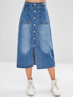 Midi Button Fly Denim Skirt - Denim Blue L
