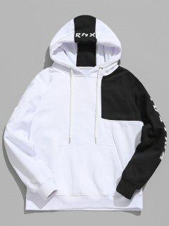 Hiphop Letter Contrast Patchwork Fleece Hoodie - White Xl