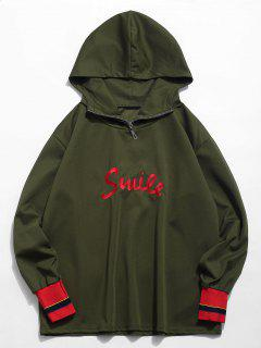 Color Block Embroidered Letter Hoodie - Army Green Xl