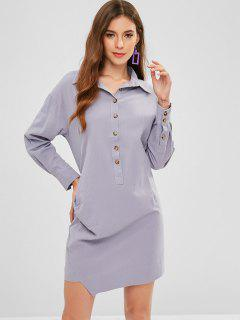 Pleated Half-button Shirt Dress - Blue Gray L