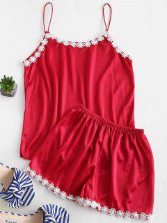Camisola Y Pantalones Cortos De Satén De Ganchillo Con Flores - Rojo Xl