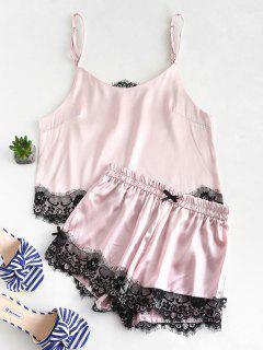 Conjunto De Pijama De Camisola Y Pantalones Cortos Con Aplicación De Encaje De Satén - Rosa Luz M