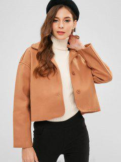 Basic Wool Blend Coat - Camel Brown M