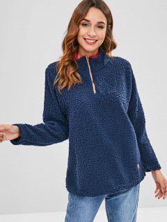 Half-zip Faux Shearling Sweatshirt - Dark Slate Blue L