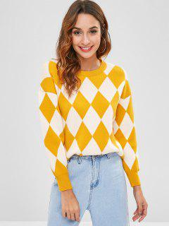 Crew Neck Argyle Sweater - Multi