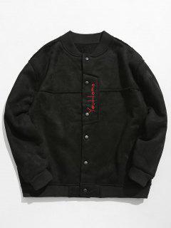 Embroidery Lamb Splicing Jacket - Black 2xl
