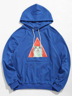 Kitten Pattern Drawstring Hoodie - Ocean Blue Xl