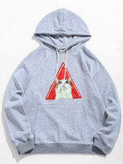 Kitten Pattern Drawstring Hoodie - Light Gray 2xl