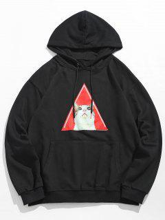 Kitten Pattern Drawstring Hoodie - Black M