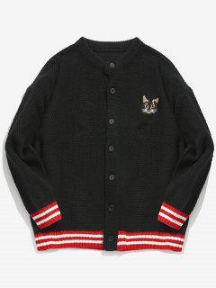 Kitten Pattern Embroidery Striped Cardigan - Black M