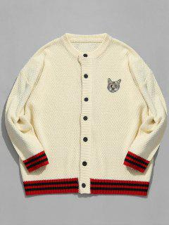 Kitten Pattern Embroidery Striped Cardigan - Warm White M