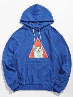 Kitten Pattern Drawstring Hoodie - Ocean Blue L