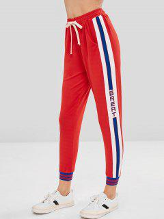 Graphic Color Block Jogger Pants - Red L