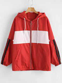 Hooded Oversized Track Jacket - Red Xl