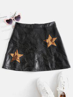 ZAFUL Star Pattern Mini Faux Leather Skirt - Black L