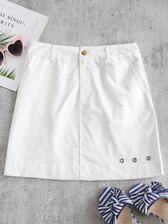ZAFUL Solid Color Grommet Mini Skirt - White L