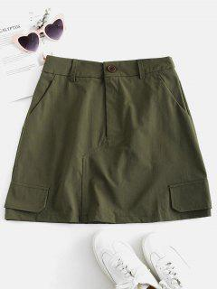 ZAFUL Plain A Line Skirt With Pockets - Army Green S