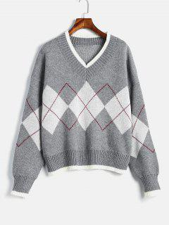 Geometric Graphic V Neck Sweater - Gray