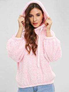 Drop Shoulders Faux Shearling Hoodie - Pink