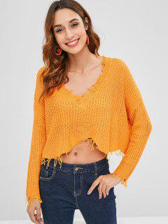 Übergroße Fransen Low Cut Sweater - Orange Gold M