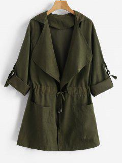 Skirted Open Front Hooded Coat - Army Green S