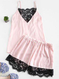 Lace Panel Satin Camisole And Shorts Pajama Set - Light Pink L