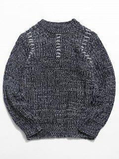Crew Neck Whipstitch Sweater - Cobalt Blue L