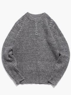 Crew Neck Whipstitch Sweater - Ash Gray L