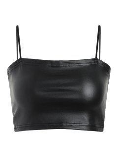 Faux Leather Cami Crop Top - Black L