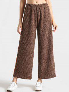 Heathered Ribbed Stripes Wide Leg Pants - Coffee M