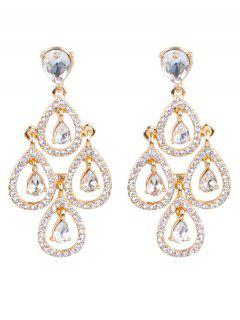 Sparkly Rhinestone Water Drop Wedding Earrings - Gold