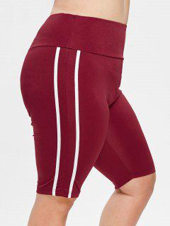 Plus Size Striped Sports Shorts - Red Wine 2x