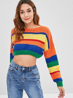 Drop Shoulder Colorblock Crop Sweater - Multi-a