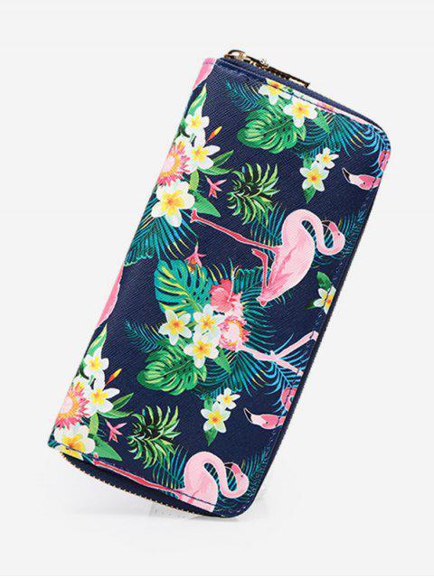 best Flamingo Print Zip Around Wallet - SLATE BLUE  Mobile