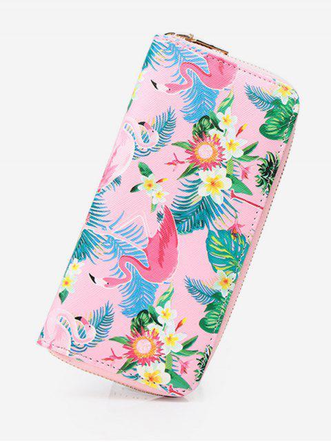 Flamingo Print Zip Around Brieftasche - Helles Rosa  Mobile