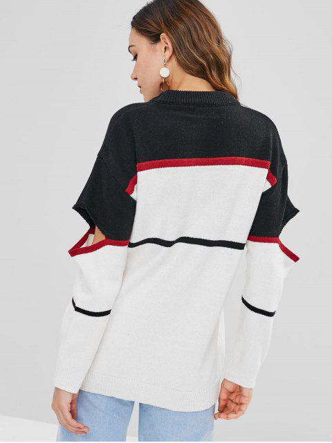 outfit Graphic Slashed Sleeve Longline Sweater - MULTI ONE SIZE Mobile