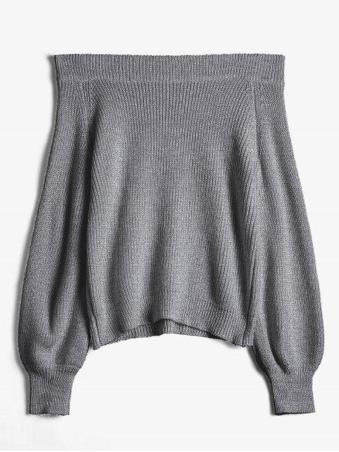 Aus der Schulter Laterne Ärmel Pullover Pullover - Dunkelgrau Eine Größe Mobile