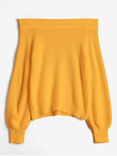 women Off The Shoulder Lantern Sleeve Pullover Sweater - ORANGE GOLD ONE SIZE Mobile