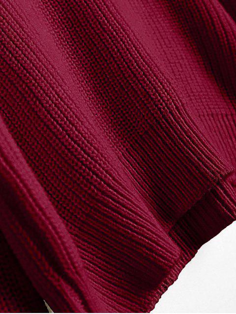 shops Off The Shoulder Lantern Sleeve Pullover Sweater - FIREBRICK ONE SIZE Mobile