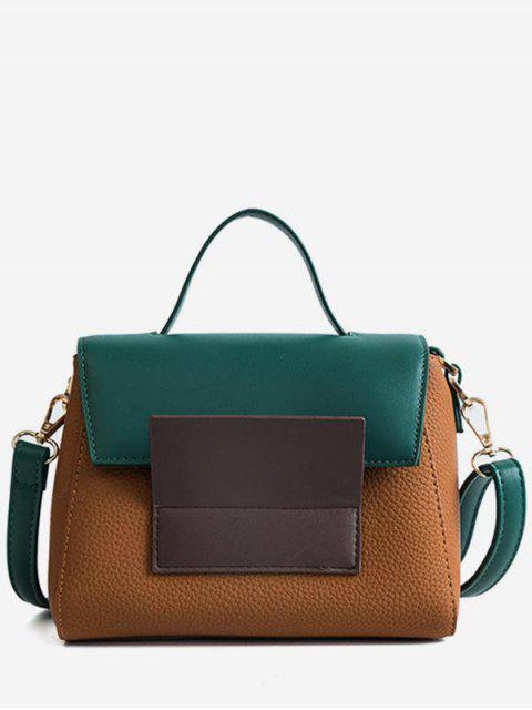 women's Color Block Tote Bag - BROWN  Mobile