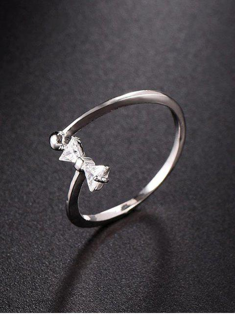 hot Bow Design Rhinestone Open Ring - SILVER  Mobile