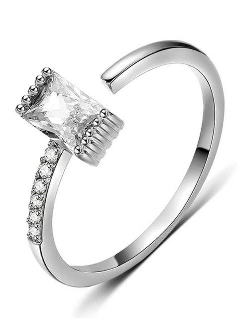 outfit Artificial Crystal Inlaid Cuff Finger Ring - SILVER  Mobile