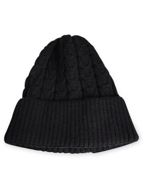 best Solid Color Flanging Thick Beanie - BLACK  Mobile