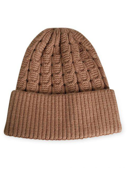 latest Solid Color Flanging Thick Beanie - DARK GOLDENROD  Mobile