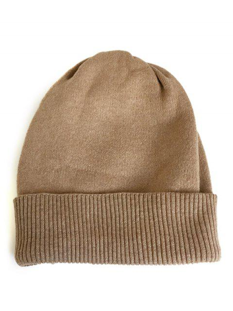 fashion Solid Color Flanging Knitted Winter Beanie - KHAKI  Mobile