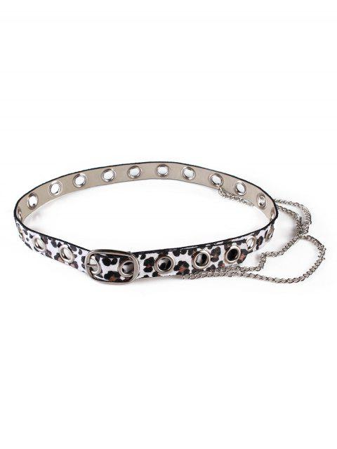 fancy Leopard Print Rivets Chain Belt - WHITE  Mobile