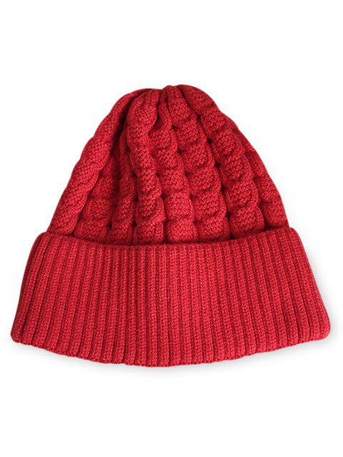 women's Solid Color Flanging Thick Beanie - LAVA RED  Mobile