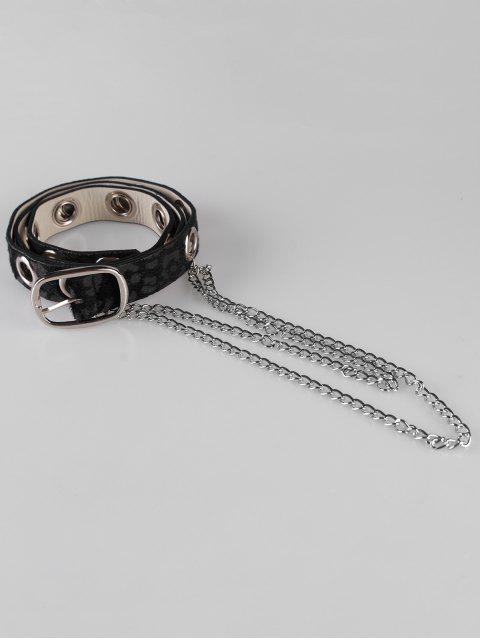 outfit Leopard Print Rivets Chain Belt - BLACK  Mobile