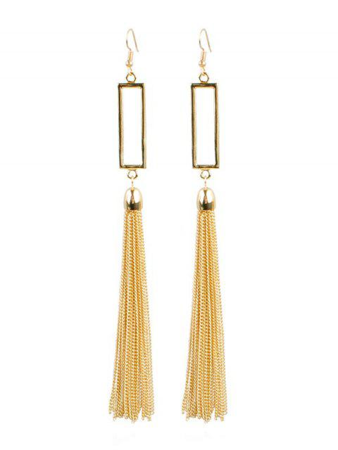 shop Geometric Fringed Hook Earrings - GOLD  Mobile